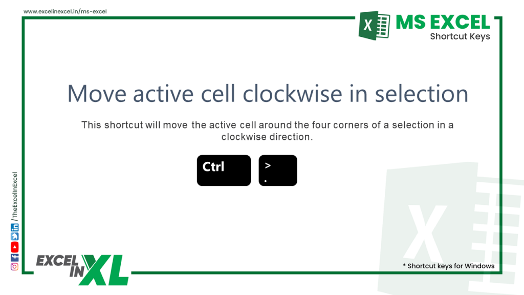 Move active cell clockwise in selection 2