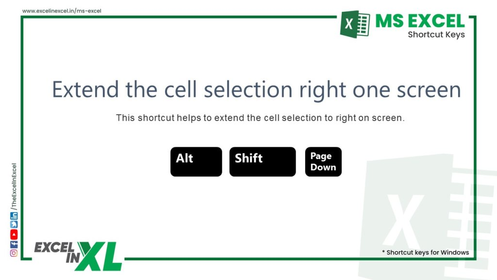 Extend the cell selection right one screen 2