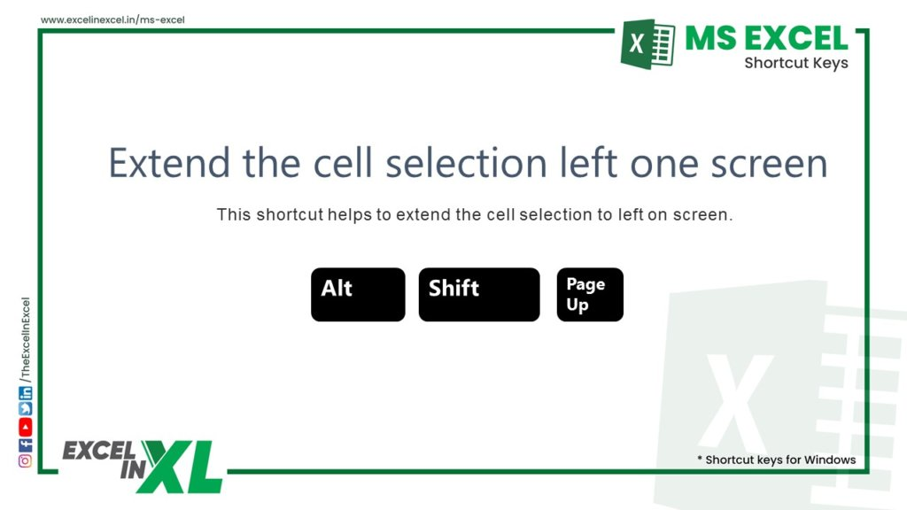 Extend the cell selection left one screen 2