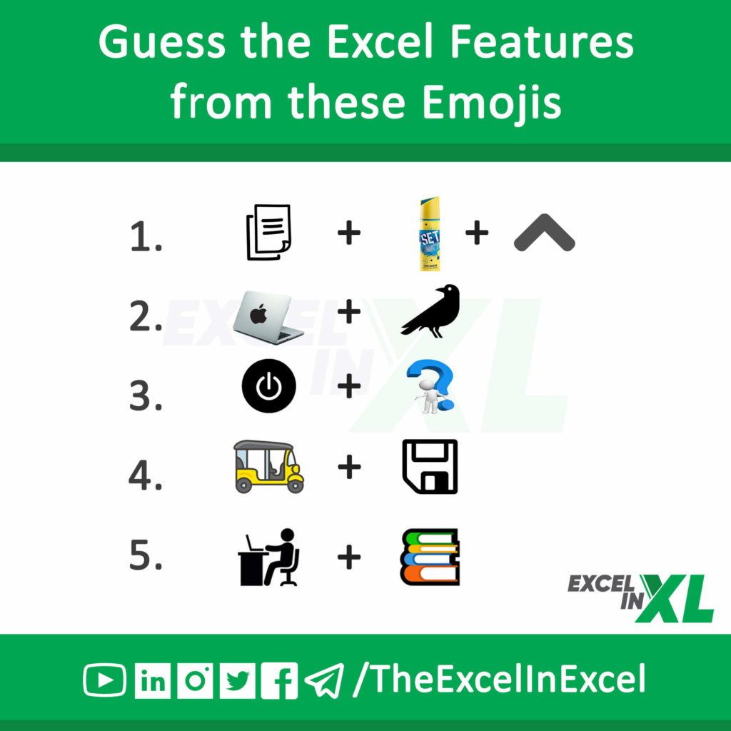 #FridayTrivia 1 – Guess Excel Features from Emoji 1