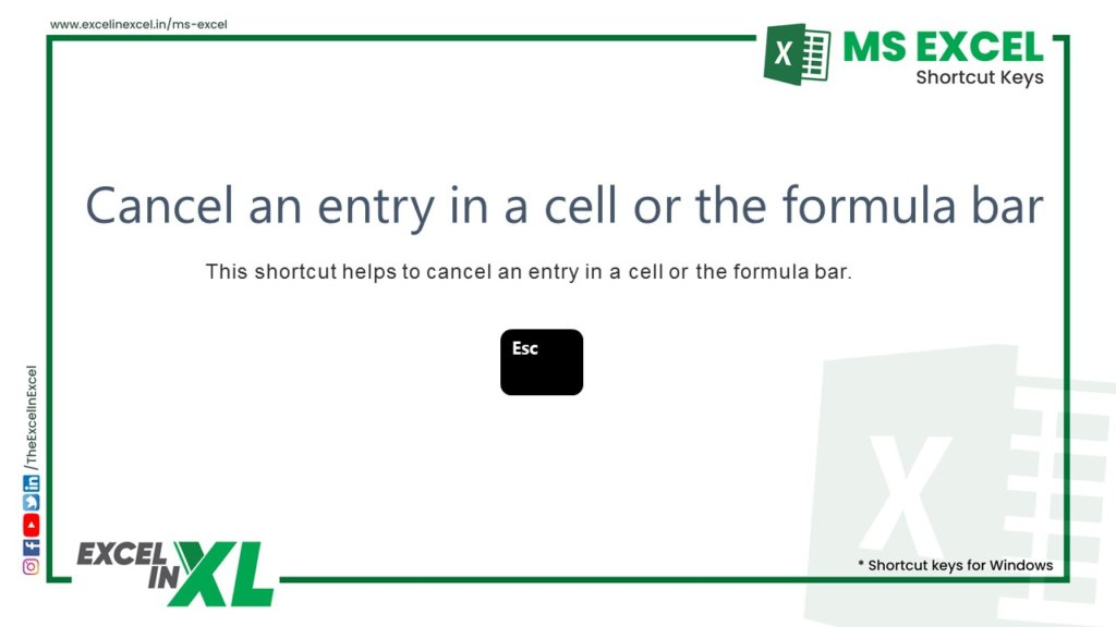 Cancel an entry in a cell or the formula bar 2