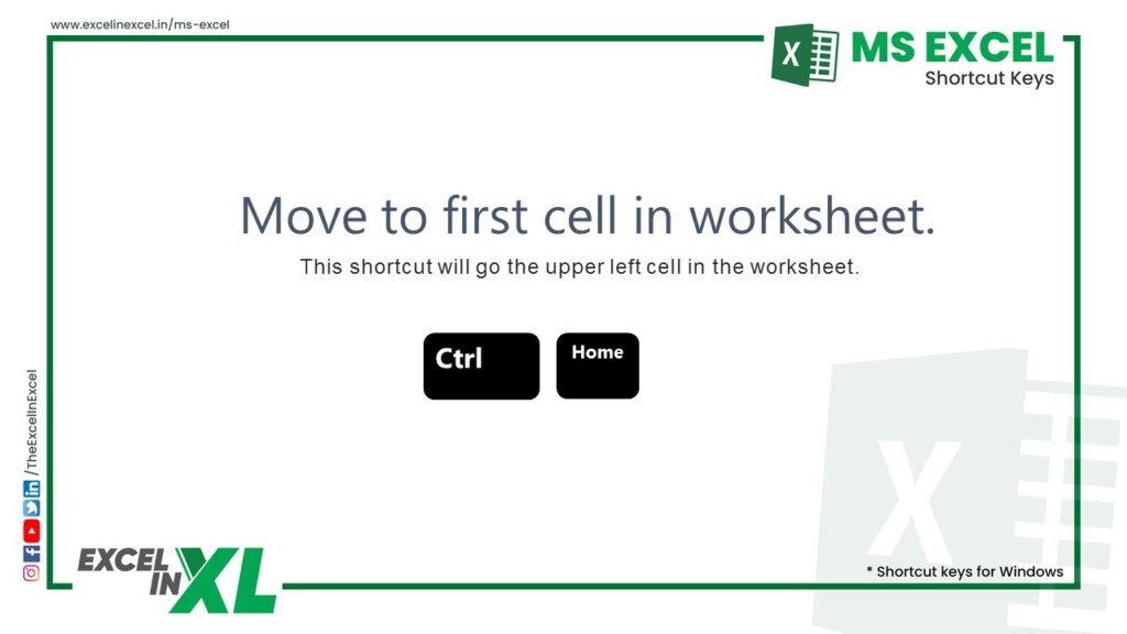 Move to first cell in worksheet 1