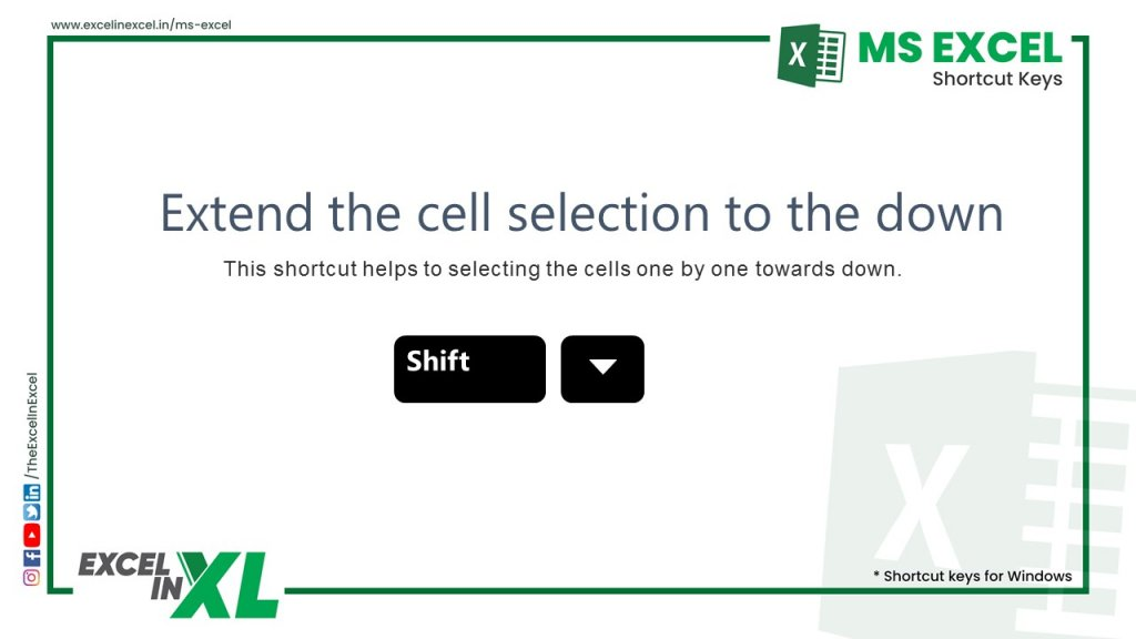 Extend the cell selection to the down 2