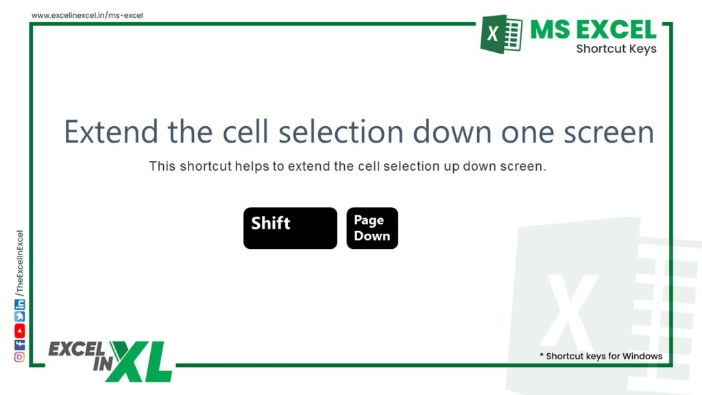 Extend the cell selection down one screen