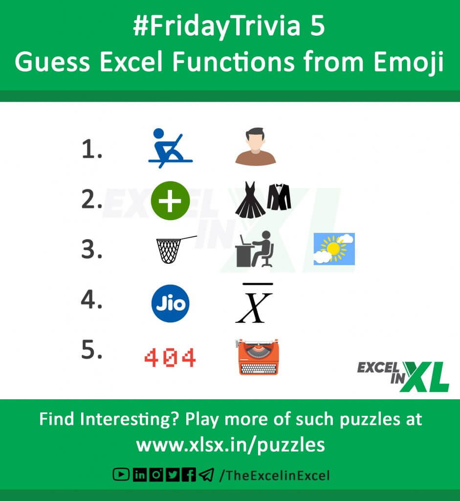 #FridayTrivia 5 – Guess Excel Functions from Emoji 6