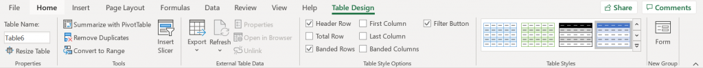 uses of tables in excel