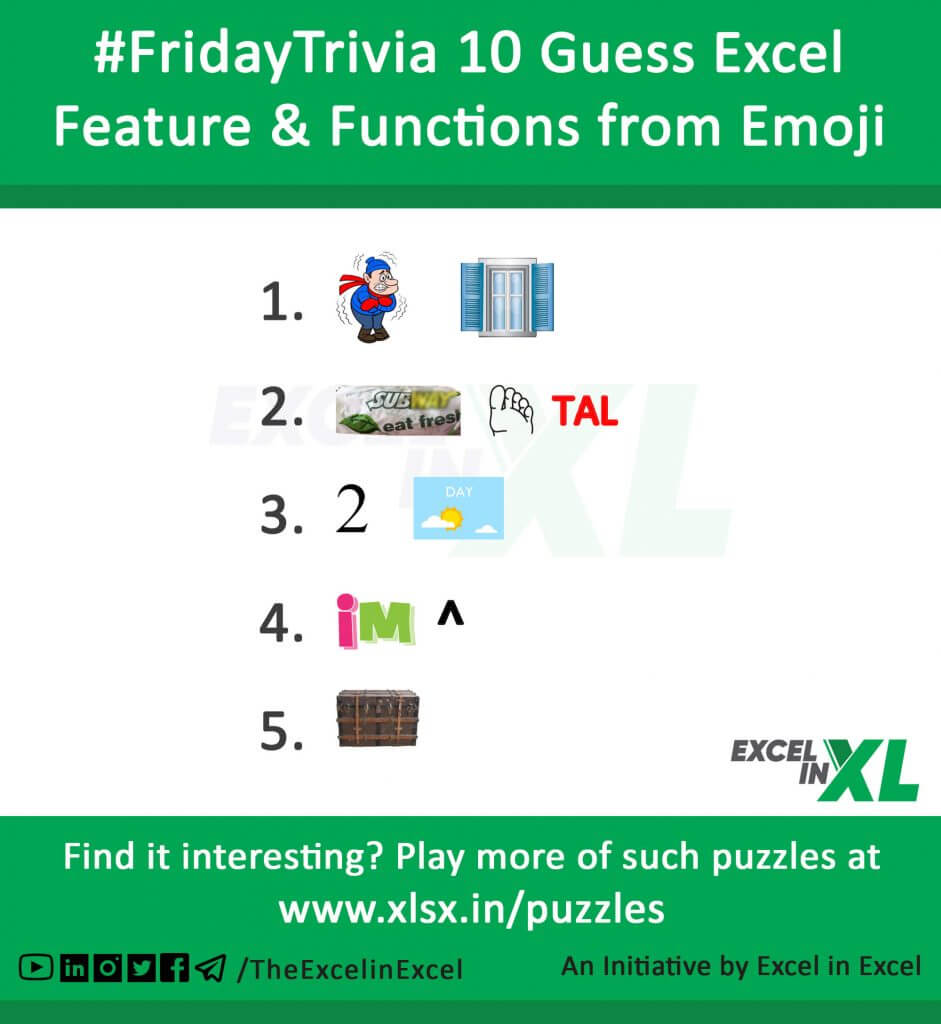 #FridayTrivia 10 – Guess Excel Features & Functions from Emoji 2