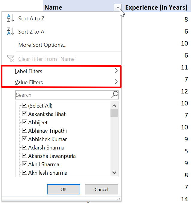 Label and Value Filter