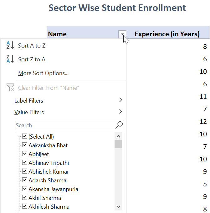 How to Sort and filter data in Pivot Table 1