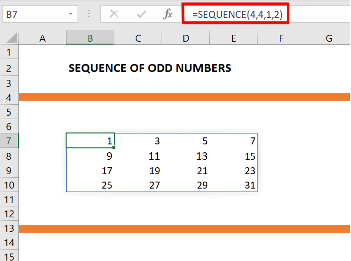 odd series using sequence formula in excel