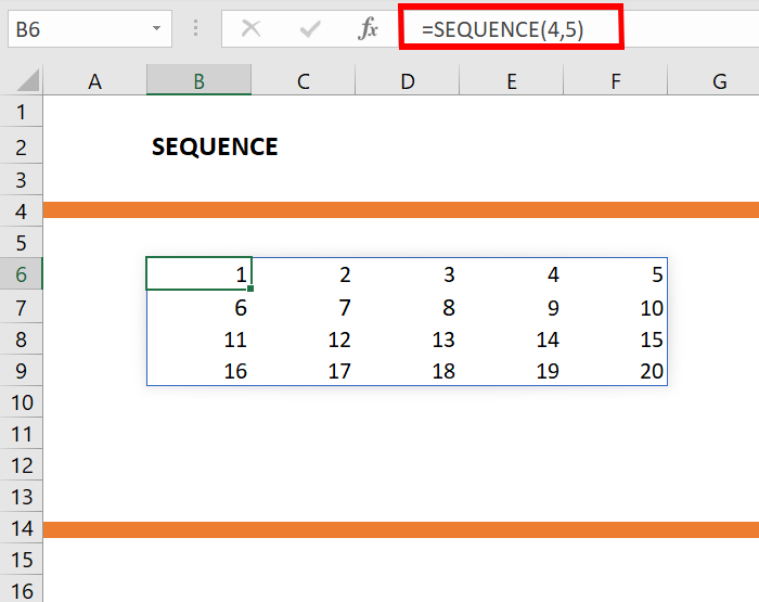 sequence formula in excel