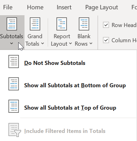 Subtotals and Grand Totals in Pivot Table 2