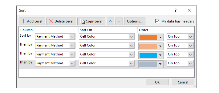 sort value by cell colour