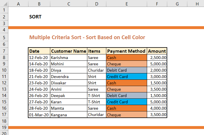 Sort based on Cell Colour
