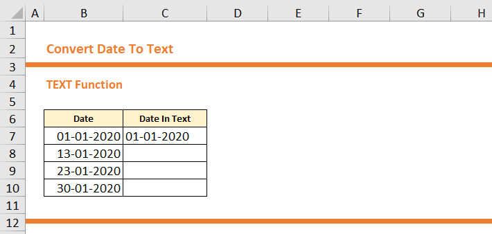 How To Convert Date To Text in Excel 8