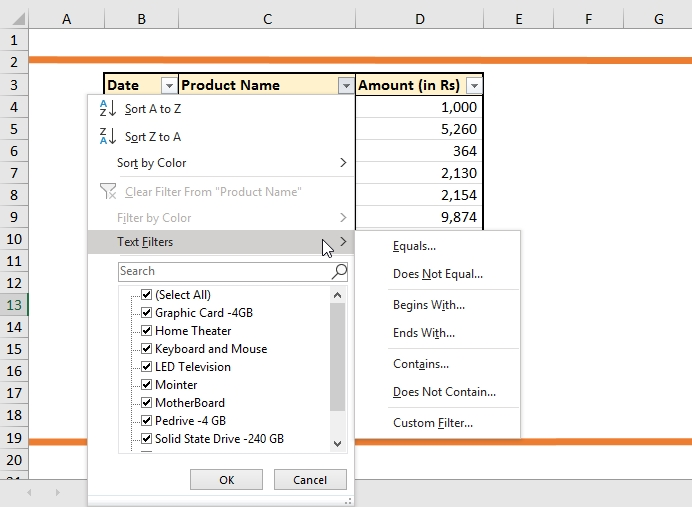 text filters in excel