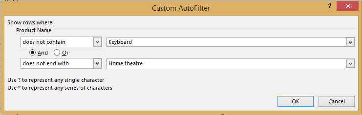 custom autofilter with does not contain and does not end with