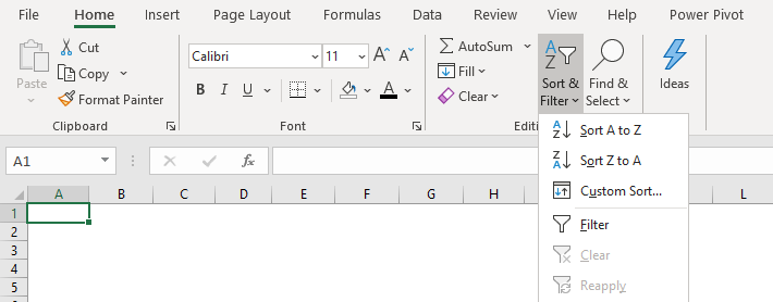 sort & filter option in home tab