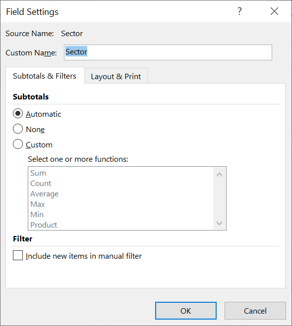 Subtotals Field Settings