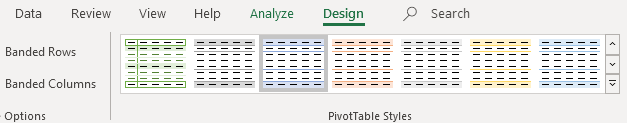customize pivot table styles