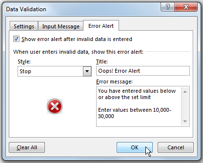 How to use Custom Error in Data Validation 72