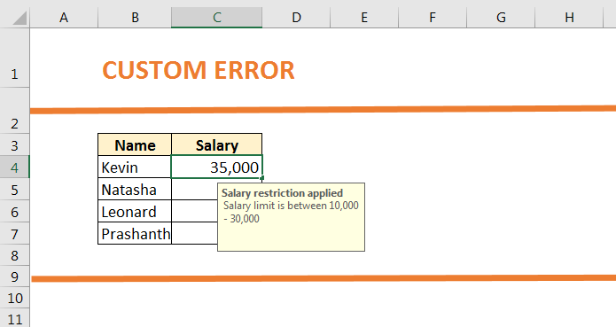 How to use Custom Error in Data Validation 73