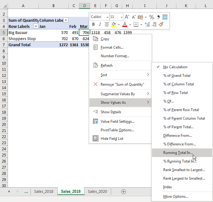 How to use Running Total in Pivot table 1