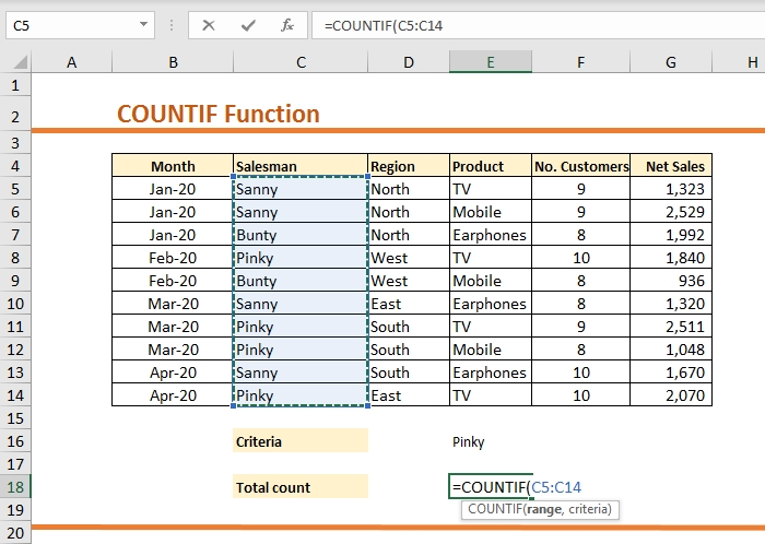 How to use COUNTIF function in Excel 77