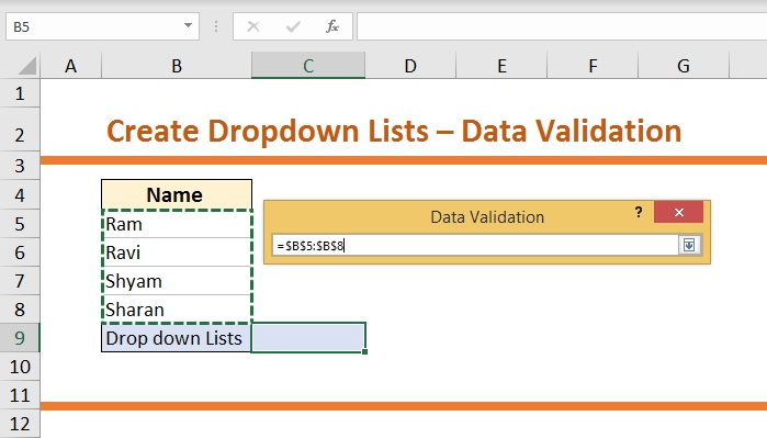 How to Create Dropdown List-Data Validation 5