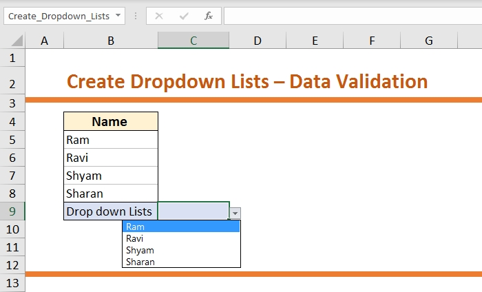 How to Create Dropdown List-Data Validation 7