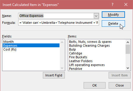How to Edit a Calculated Item in the Pivot Table? 6