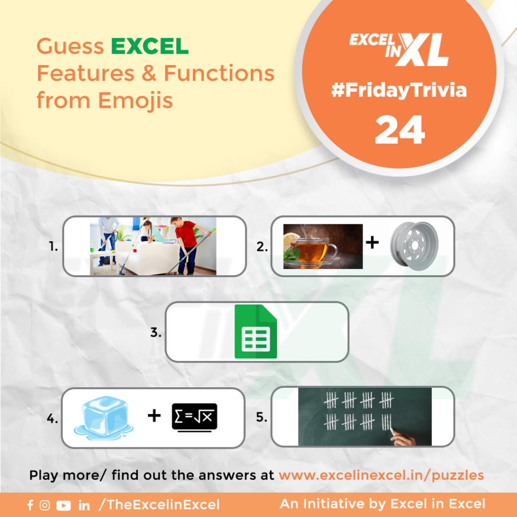 #FridayTrivia 24 – Guess Excel Features & Functions from Emoji 1