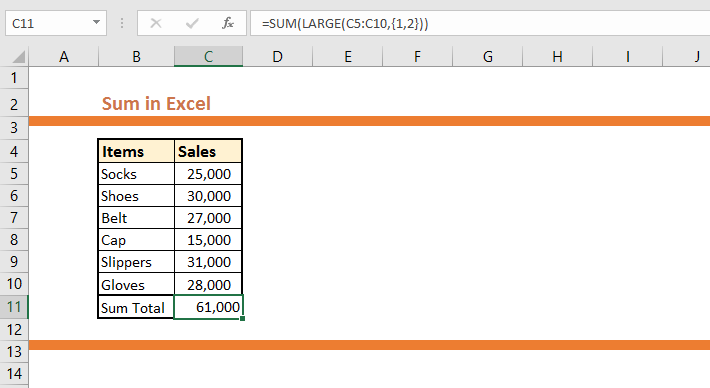 Sum only Largest or smallest Values