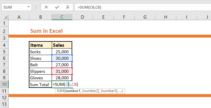 How to use SUM in Excel