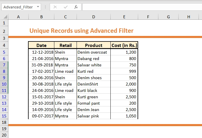 How to get Unique Records using Advanced Filter 4