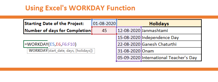 How to use the WORKDAY Function
