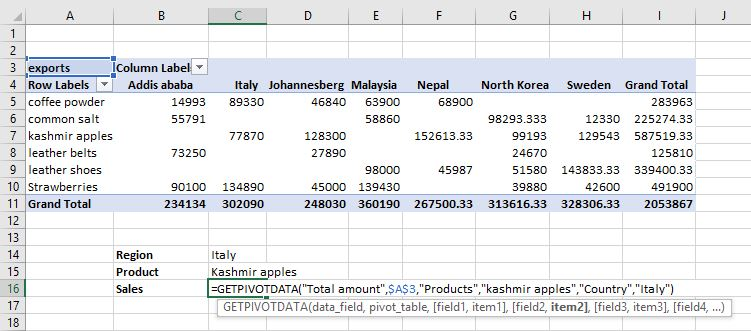 How to use the Get Pivot Data? 2