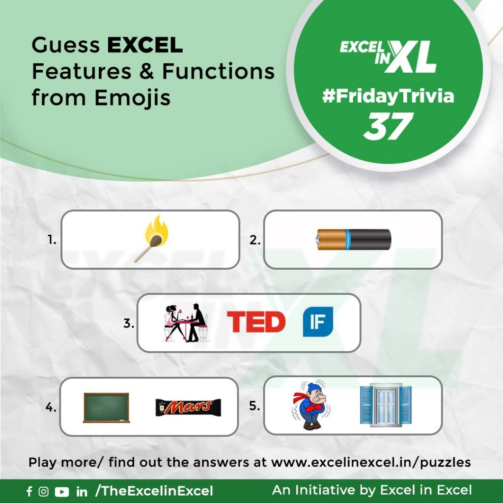 #FridayTrivia 37– Guess Excel Features & Functions from Emoji 1