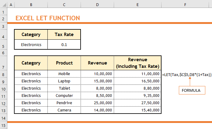 Excel LET Function 1