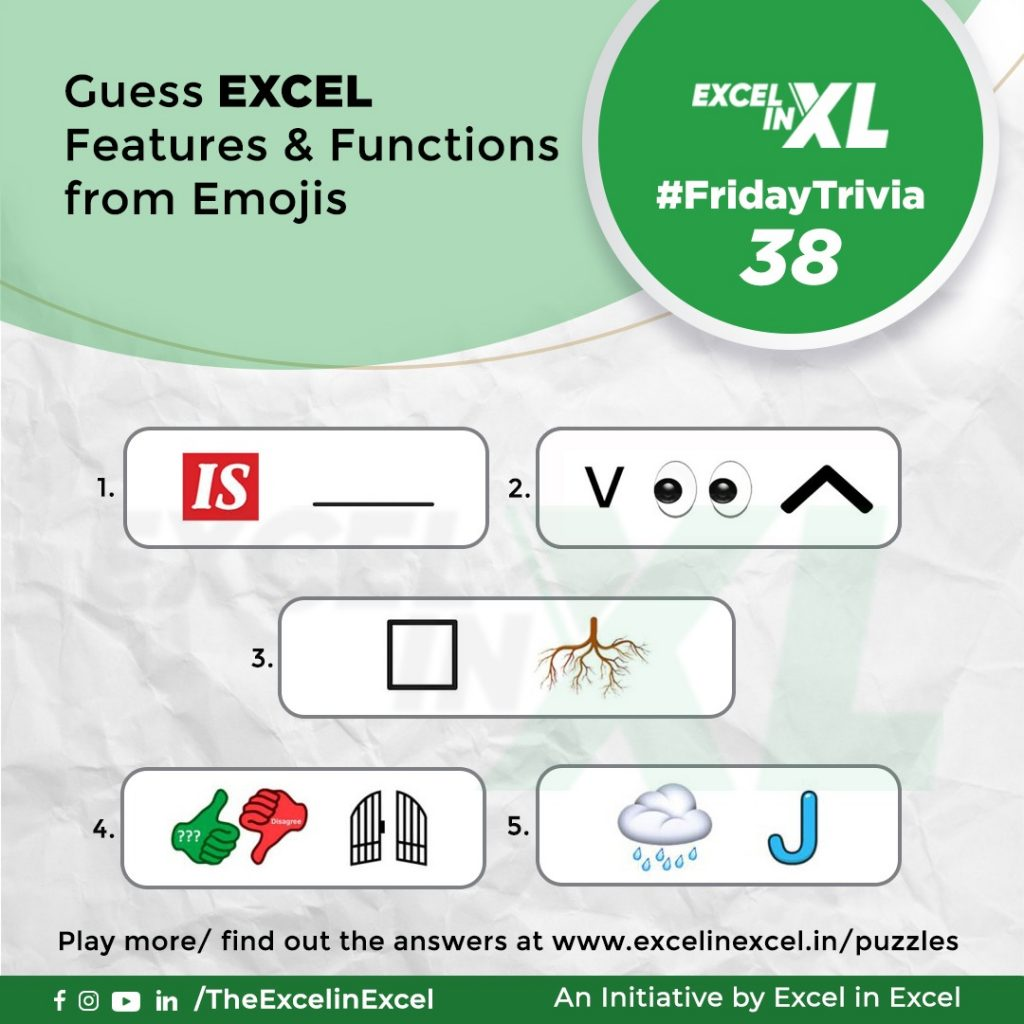 #FridayTrivia 38– Guess Excel Features & Functions from Emoji 4