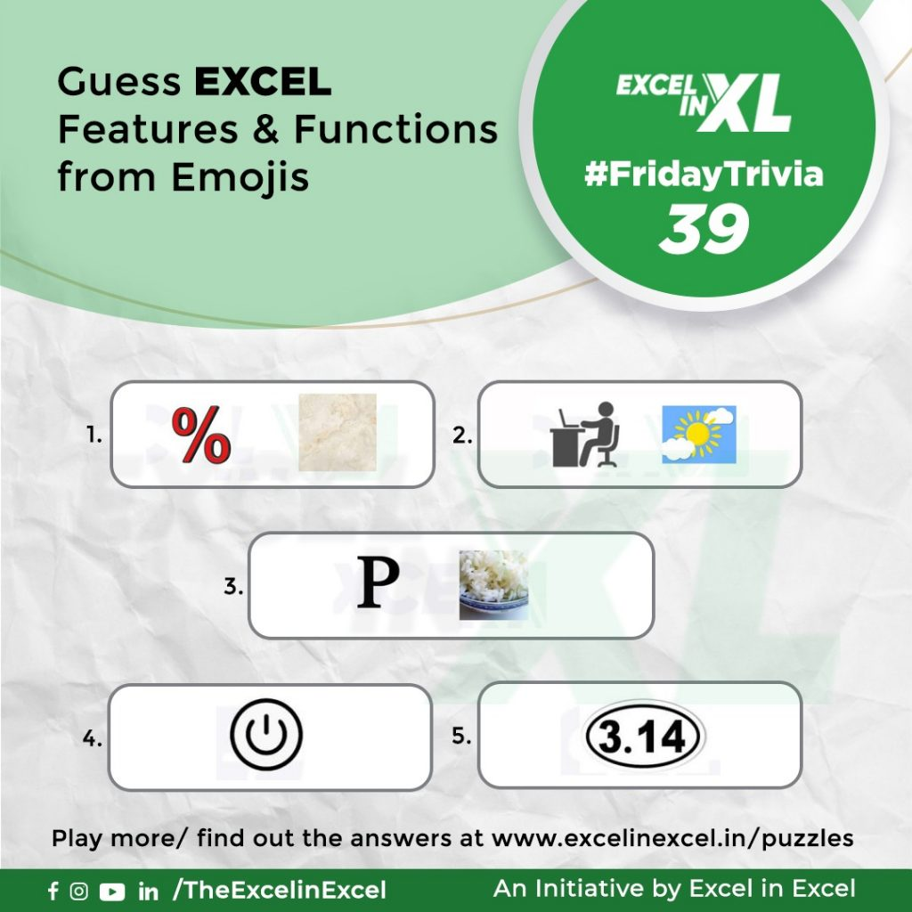 #FridayTrivia 39– Guess Excel Features & Functions from Emoji 1