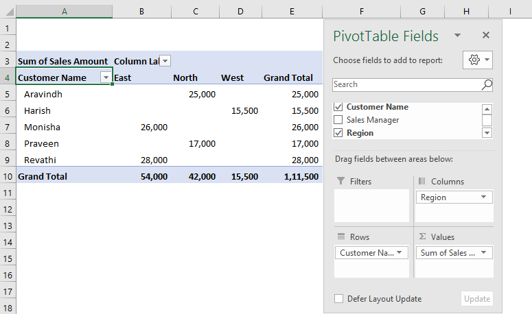 Defer Layout Update in Pivot Table 3