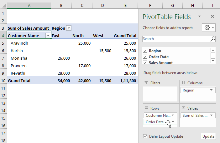 Defer Layout Update in Pivot Table 4