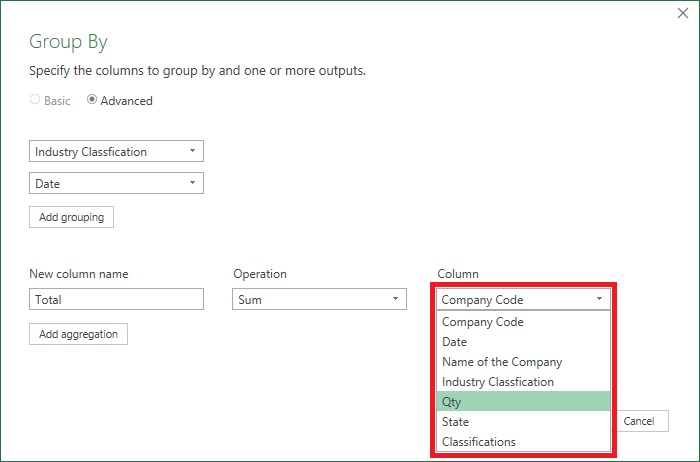 GroupBy in PowerQuery 7
